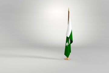 Pakistan flag on a brown and golden wooden mast 3d illustration