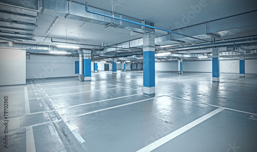 Leinwanddruck Bild Cross processed photo of underground parking.