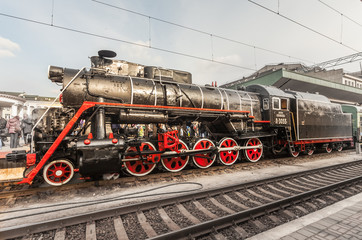 Old steam locomotive, vintage train