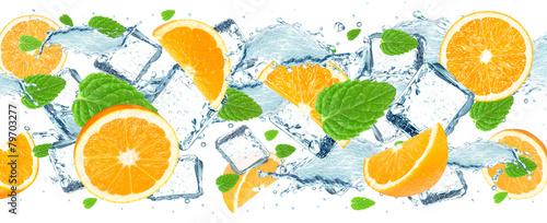 orange and water splash
