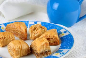 Variety of Turkish baklava on a plate