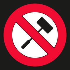 Selfie Stick verboten - Schild als Hinweis