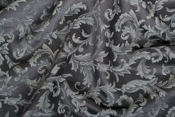 Damask, wavy black tapestry fabric background