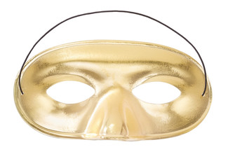 Golden mask isolated on white, clipping path