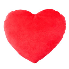 Heart red pillow, cushion on white, clipping path