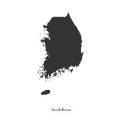 Black map of South Korea for your design