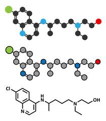 Hydroxychloroquine malaria drug molecule.