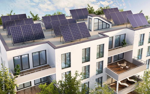 Solar pannels on the roof of the house - 79705462