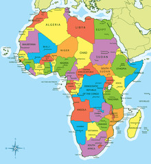 Africa map with countries and cities