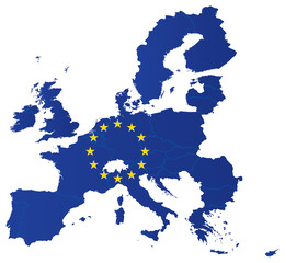 Europe union map with flag