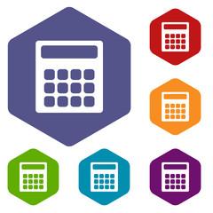 Calculator rhombus icons