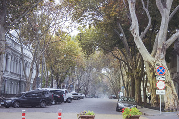 One of the streets of Odessa where parked cars