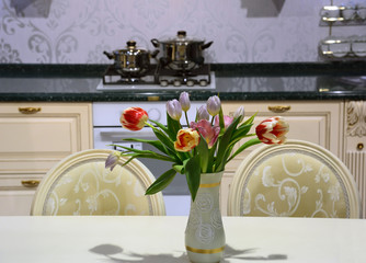 Kitchen interior with flowers
