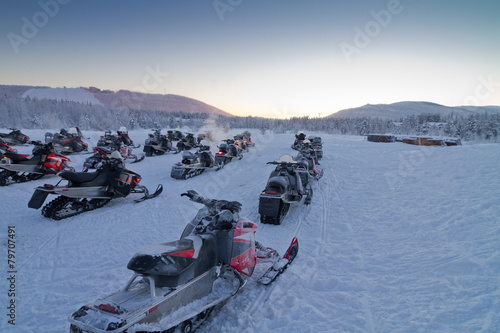Foto op Aluminium Motorsport Group of snowmobiles