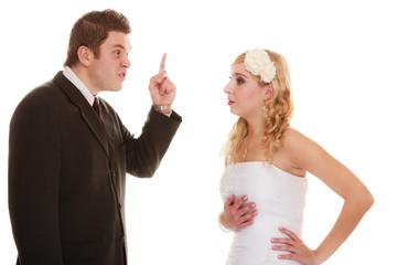 Wedding couple having argument conflict, bad relationships