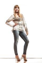 blonde fashionable girl in bright tshirt