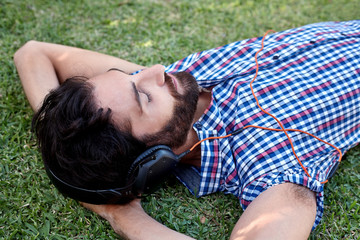 man headphones music