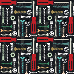 Vector seamless pattern with screws and screwdrivers 3