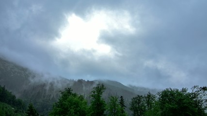 4k time lapse clouds in the mountains