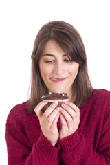 Girl eating a cupcake