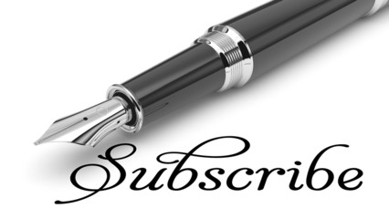 Subscribe word and pen