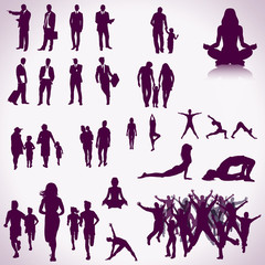 People silhouettes color collection
