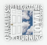 Repeat Loyal Satisfied Customer Open Door Reliable Client poster