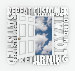 Repeat Loyal Satisfied Customer Open Door Reliable Client