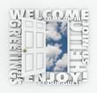 Welcome Open Door Hello Friendly Service Guest Invitation Words