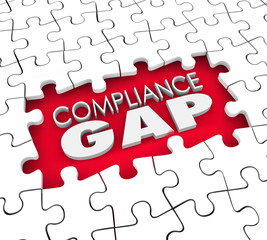 Compliance Gap Puzzle Hole Risk Liability Not Following Rules