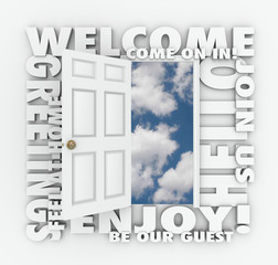 Welcome Open Door Hello Friendly Service Guest Invitation Words