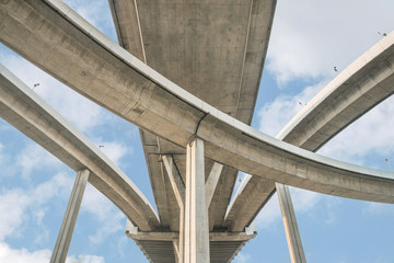 Elevated expressway. The curve of suspension bridge, Thailand.