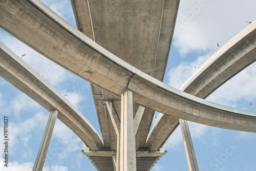 Poster Brug Elevated expressway. The curve of suspension bridge, Thailand.