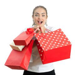 Beautiful Happy Young Woman Holding Shopping