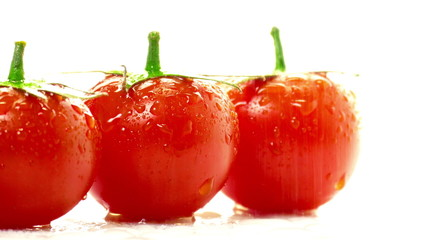 Tomato red on a white background