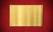 Leinwandbild Motiv Gold award plaque or plate on red background