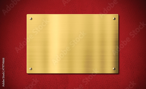 Gold award plaque or plate on red background - 79714666