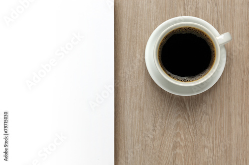Fotobehang Cafe Cup of coffee on office desk with white space