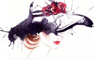 woman portrait with hat .abstract watercolor