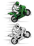 Fototapety Coloring book Moto Race cartoon character