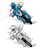 Fototapety Coloring book Moto Cross cartoon character