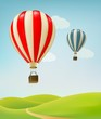 Retro background with colorful air balloons and green land. Vect - 79716883