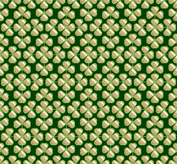Vector abstract seamless green  trefoil pattern
