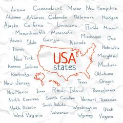 Hand Drawn USA states vector illustration