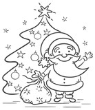 Cartoon Santa with presents and Christmas tree