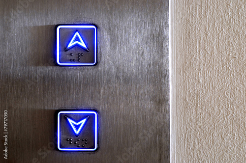Leinwandbild Motiv Neon elevator controls