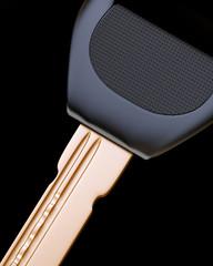Key on black background close-up