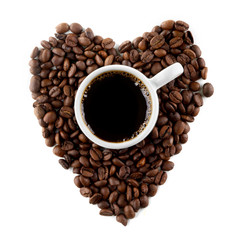 Coffee and beans as heart