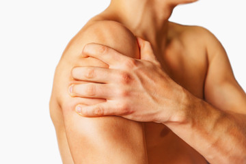 Pain in a male shoulder. Isolated on a white background