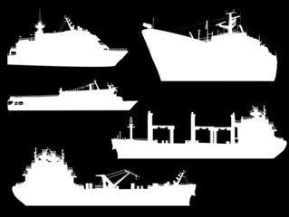 five large ship silhouettes isolated on black
